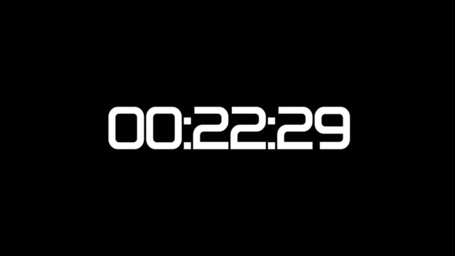 backward counting sequence. from 30 to 0 seconds. countdown timer with digital numbers on black. - conto alla rovescia video stock e b–roll