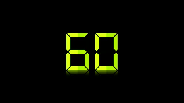 Backward Counting Sequence. From 60 to 0 Seconds. Countdown Timer with digital numbers on black.