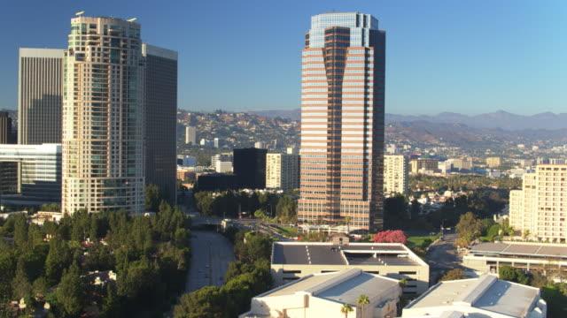 Backwards Drone Shot of Century City, Los Angeles video