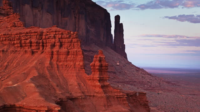 Backwards Drone Shot Past Rock Hoodoos in Monument Valley video