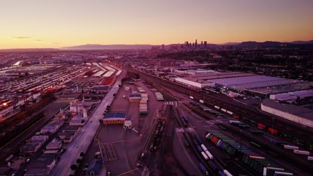 Backwards Tracking Shot Over LA Industrial Area video