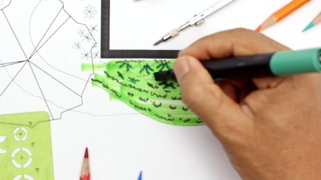 garten und pato plan entwerfen. - gärtnerisch gestaltet stock-videos und b-roll-filmmaterial