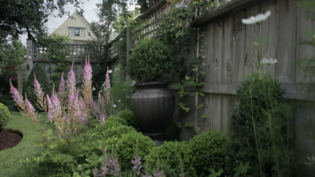 Backyard landscaping and fence - model garden  ornamental garden stock videos & royalty-free footage