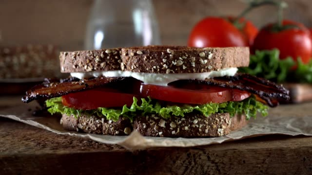 BLT Bacon, Lettuce, and Tomato Sandwich Parallax slider footage of a delicious BLT bacon, lettuce, and tomato sandwich. bacon stock videos & royalty-free footage