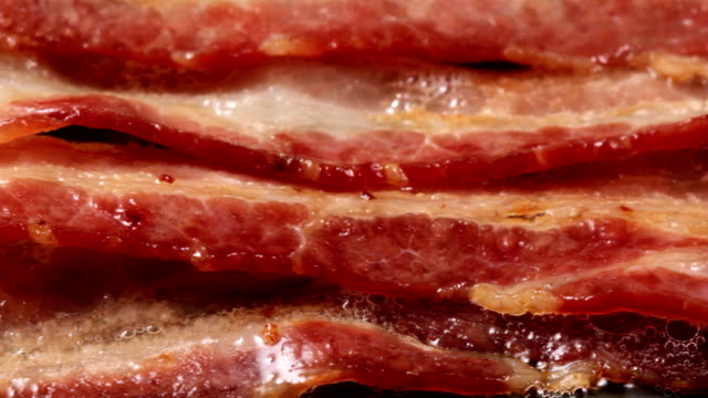Bacon Extreme close up camera pan of bacon cooking on griddle bacon stock videos & royalty-free footage