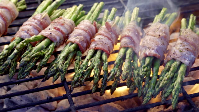 Bacon Wrapped Asparagus on a Fiery Grill, Ketogenic Food