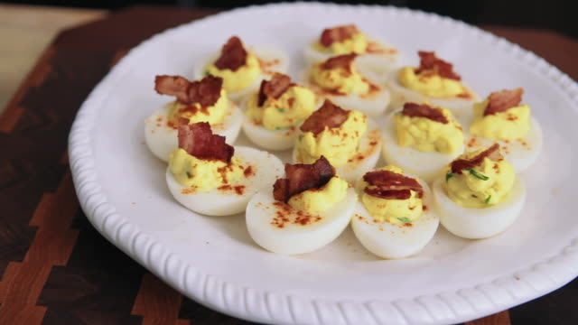 Bacon-topped deviled eggs