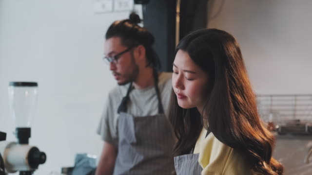 Bad business financial of asian barista.restaurant owner feel upset about cafe no customer