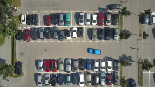 AERIAL: Bad driver incapable to park a car in crowded supermarket parking lot video