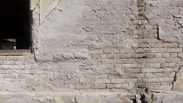 Bad foundations on old house cracked plaster facade wall with brick background under peeled cement, with motion