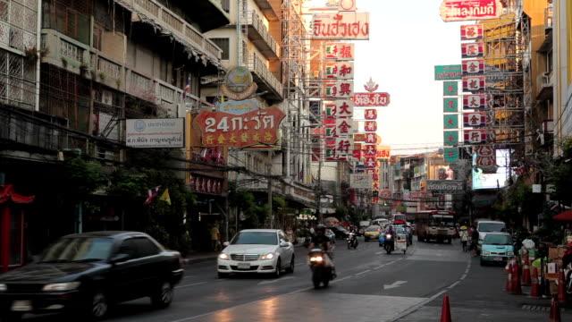 Bad Traffic on Yaowarat Road in the Chinatown Bangkok, Thailand video