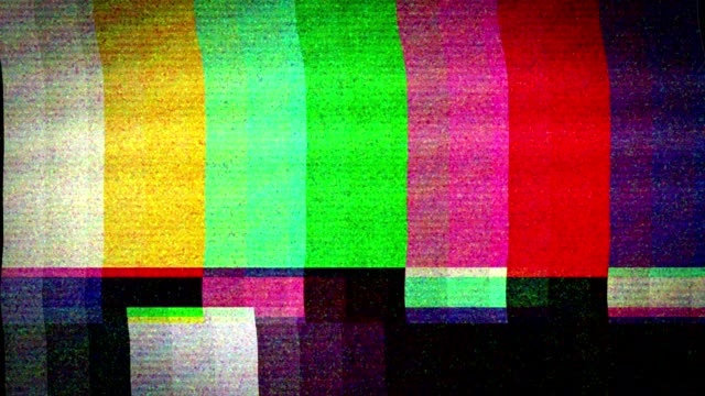 Bad TV signal on the TV screen. A flickering, analog TV signal with bad interference, static, and color bars. breaking stock videos & royalty-free footage