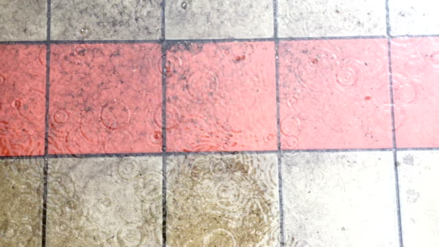 Bad weather. The rain goes on dirty paving slab. video