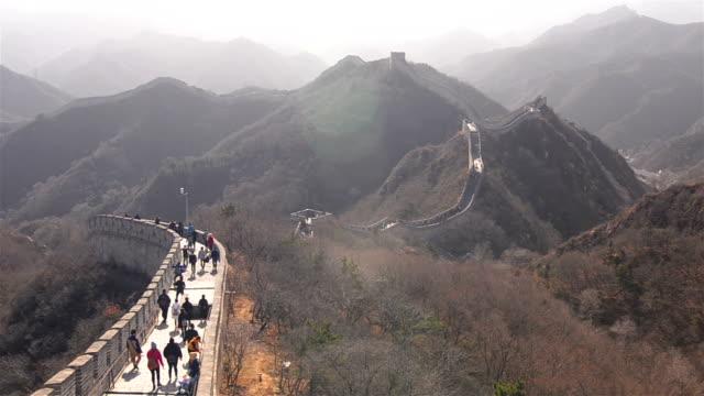Badaling great wall of china under sunlight of winter video