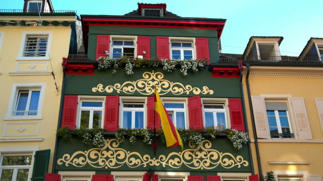 Baden-Baden bright red house with flag video