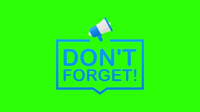 stockvideo's en b-roll-footage met badge, banner met megafoon - vergeet niet. bewegingsafbeeldingen. - aankondigingsbericht