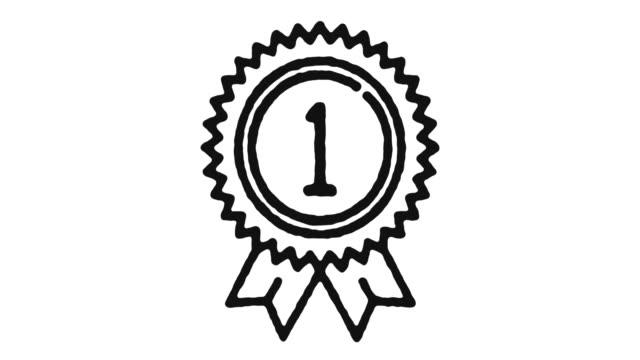 バッジアイコンアニメーション映像&アルファチャンネル - メダル点の映像素材/bロール