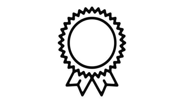 Badge Line Motion Graphic Badge line icon motion graphic animation with alpha channel. incentive stock videos & royalty-free footage