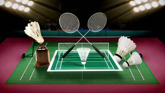 Badminton icon, shuttlecock, net, Badminton Stadium. video