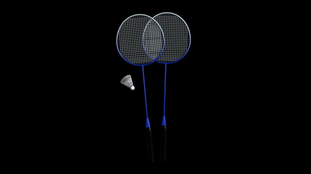 Badminton rotating loop isolated with luma matte video