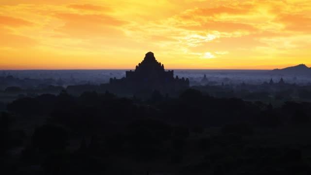 bagan in misty morning,magical sunrise over the temples in bagan, bagan myanmar - myanmar video stock e b–roll