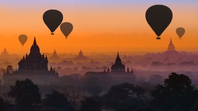 Bagan, Myanmar Hot air balloons in Bagan, Myanmar myanmar stock videos & royalty-free footage