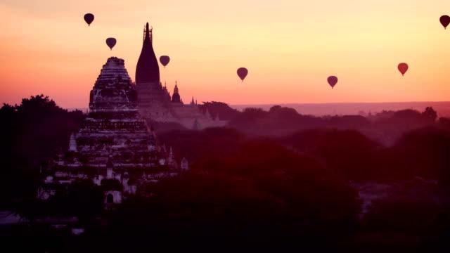 Bagan Temples at sunrise, Myanmar (Burma) video
