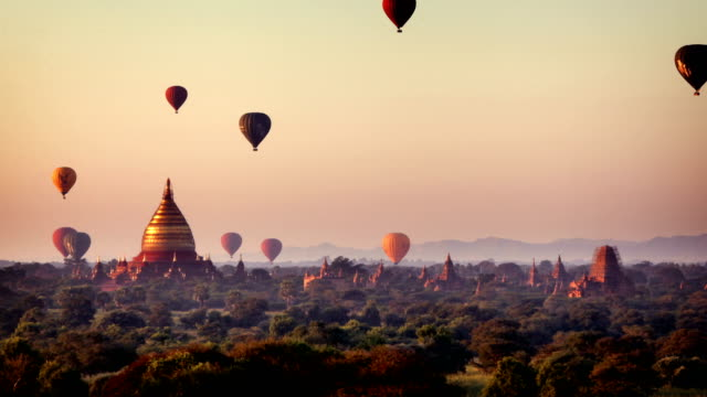 bagan temples at sunrise, myanmar (burma) - myanmar video stock e b–roll
