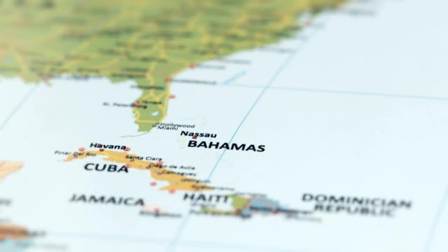 north america bahamas on world map - sud est video stock e b–roll