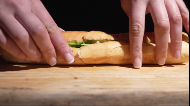 bahn mi sandwich split opened closeup video