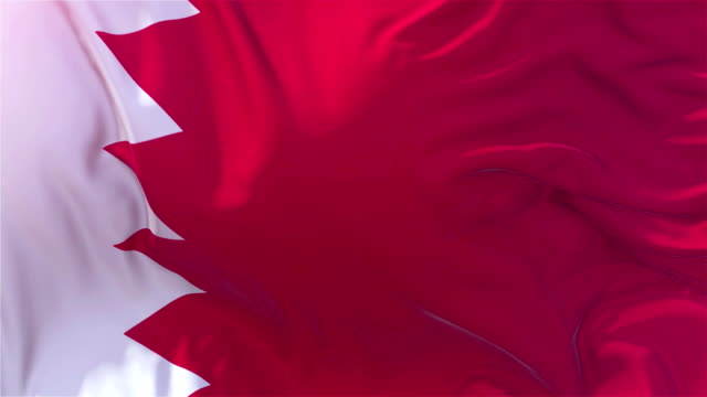 vídeos de stock e filmes b-roll de bahrain flag in slow motion classic flag smooth blowing in the wind on a windy day rising sun 4k continuous seamless loop background - democracy illustration
