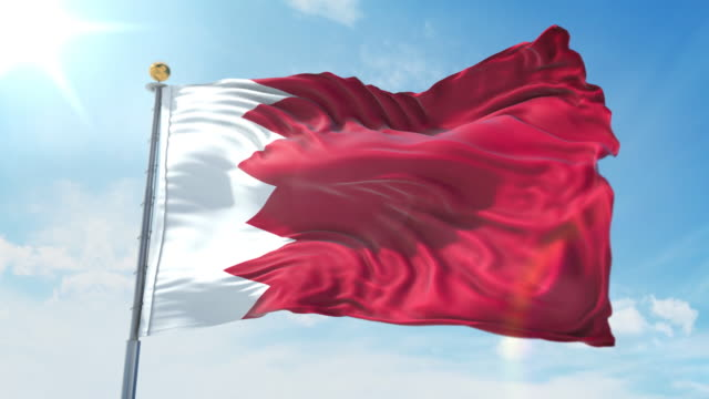 Bahrain flag waving in the wind against deep blue sky. National theme, international concept. 3D Render Seamless Loop 4K Bahrain flag waving in the wind against deep blue sky. National theme, international concept. 3D Render Seamless Loop 4K allegory painting stock videos & royalty-free footage