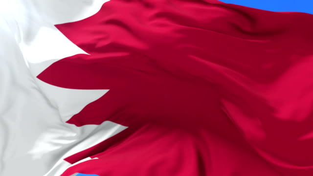 Bahraini flag waving at wind in slow with blue sky, loop video