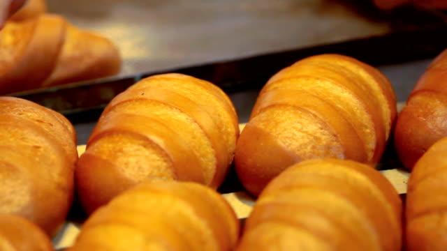 baker lays out the bread into trays - brödlimpa bildbanksvideor och videomaterial från bakom kulisserna