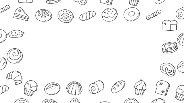 Bakery moving swirl frame pattern background cartoon hand drawing outline stroke illustration isolated on white background seamless looping animation 4K, with center copy space video