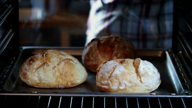 baking homemade seed bread in the oven - pane forno video stock e b–roll