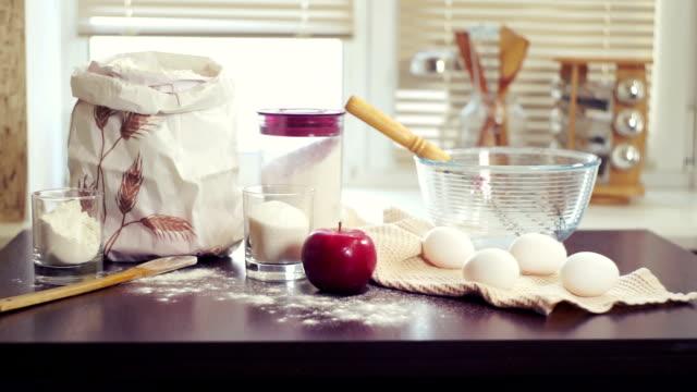 Baking ingredients. Preparing food ingredients for baking cake. Baking apple pie video