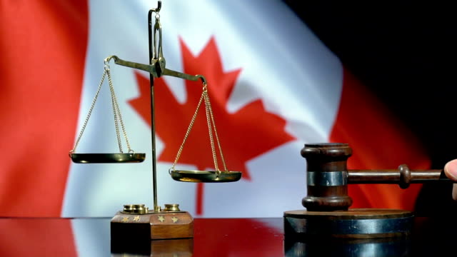 Balance and Gavel with Canadian Flag Full HD, 29.97P, Slow Motion sentencing stock videos & royalty-free footage