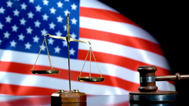 Balance and Gavel with United States Flag