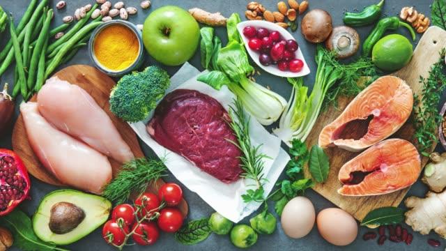 balanserad kost mat bakgrund - hälsosamt ätande bildbanksvideor och videomaterial från bakom kulisserna