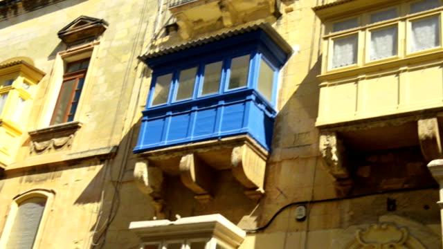 Balconies in Valetta capital city of Malta video