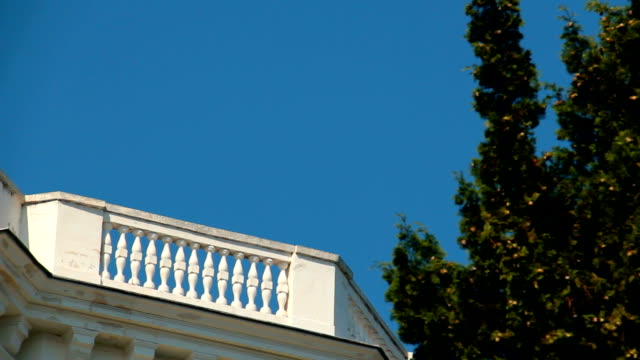 Balcony of the building against the blue sky. video