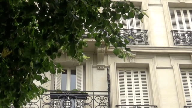 Balcony's and trees in Paris, France Balcony's and trees in Paris, France french architecture stock videos & royalty-free footage