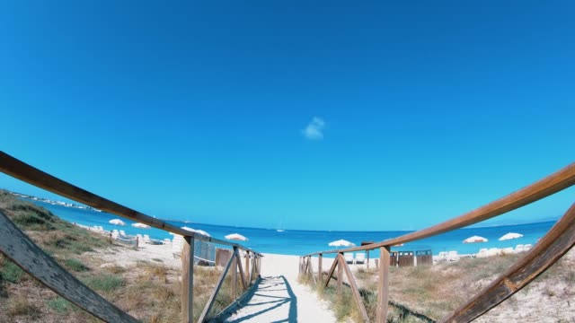 Balearic Island Formentera Wooden Path to the Beach