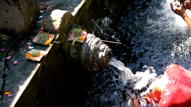Balinese Hindu devotees wash themselves in a ritual at the pool in Pura Tirta Empul (temple), Bali, Indonesia video