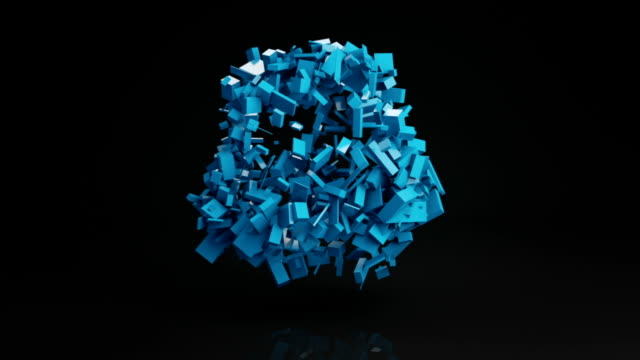Ball cluster of bricks abstract shape 3D render loopable video