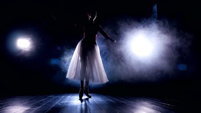 Ballerina dancing on her toes in the dark video