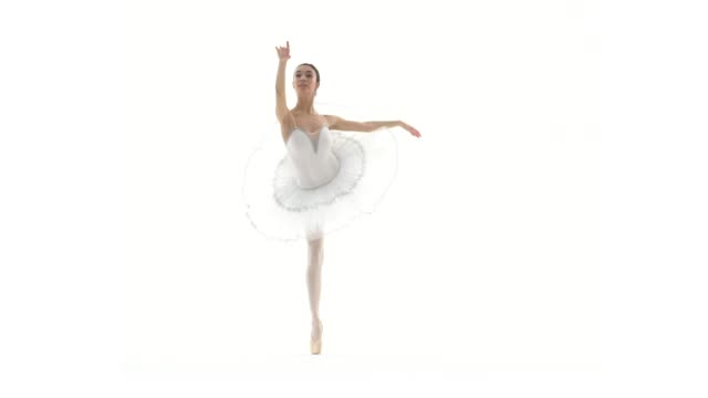 ballerina dans med vita tutu på vit bakgrund i slow motion - piruett bildbanksvideor och videomaterial från bakom kulisserna