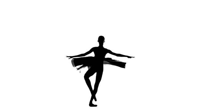 ballerina girl is wearing a dress. silhouette. slow motion video