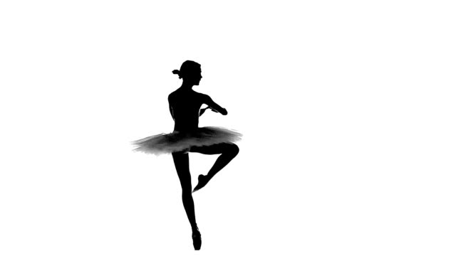 ballerina in tutu showing her techniques, silhouette, slow motion video